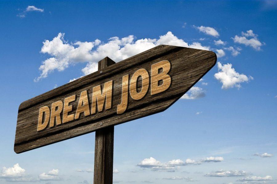 sign saying dream job