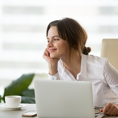 woman thinking analytically