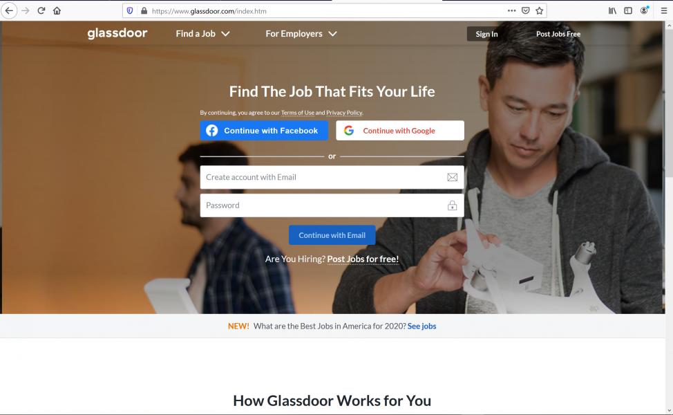 using the best job sites - Glass Door
